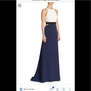 Halston heritage 6 cutout back colorblock gown